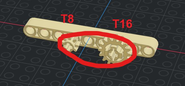 T8 and T16 gear connected with chain